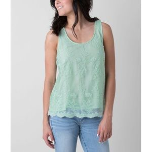 BKE Boutique Mint Embroidered Mesh Tank Top Medium